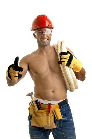 construction workers: Strong build construction worker isolated in white
