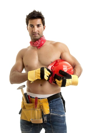 Strong build construction worker isolated in white photo