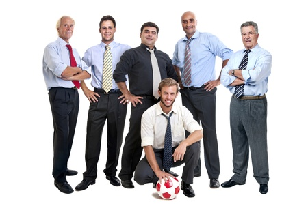 Team of businessmen with soccer ball photo