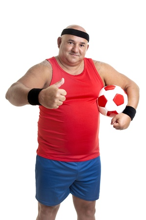 Large man with soccer ball isolated in white photo