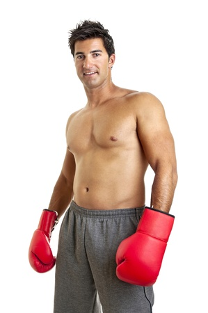 Muscular boxer isolated in white photo