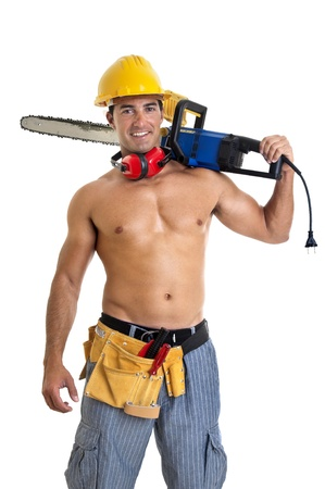 Strong build construction worker isolated in white Stock Photo - 11534445