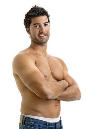 Fashionable muscular young man isolated in white photo