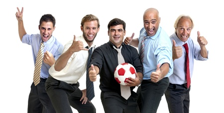 fairplay: Team of businessmen with soccer ball Stock Photo