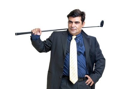 Businessman posing with golf club isolated in white photo