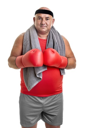 Large man with boxing gloves isolated in white photo