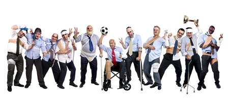 Soccer team of injured businessmen after a touth game photo