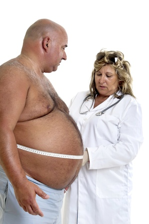 oversize: Large male patient with big belly and doctor Stock Photo
