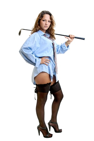 Sexy woman with shirt and tie and golf club Stock Photo - 12071735
