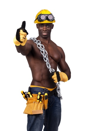 Strong build black construction worker with chains isolated in white Stock Photo - 12306161