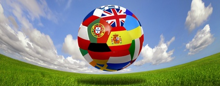 Soccer ball with several  flags for the Euro cup photo