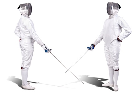 duel: Fencing athletes isolated in white Stock Photo