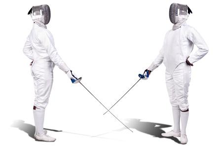 esgrimista: Los atletas de Esgrima aislados en blanco Foto de archivo