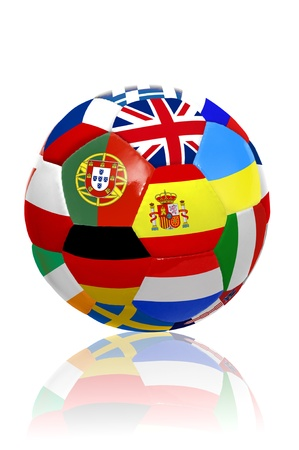 Soccer ball with several  flags for the Euro cup  isolated in white photo