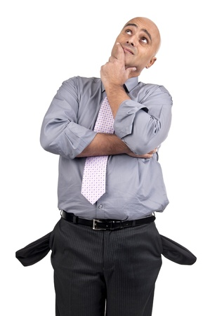 moneyless: Man showing empty pockets and thinking about solutions