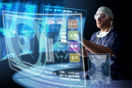 csi: Doctor in uniform with X-rays and digital  screens and keyboard Stock Photo