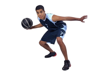 ball point: Basketball player isolated in white