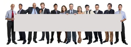 Workers big team with large card isolated in white