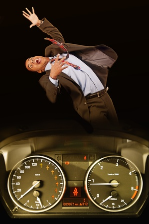 man being run over by a speeding car photo