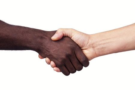 Hands of different races together isolated in white Stock Photo - 12636553