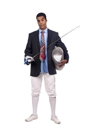 esgrimista: Hombre de negocios tirador aislado en fondo blanco