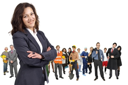 Businesswoman with crowd or group of different people isolated in white photo