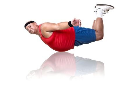 Large fitness man working out isolated in white photo