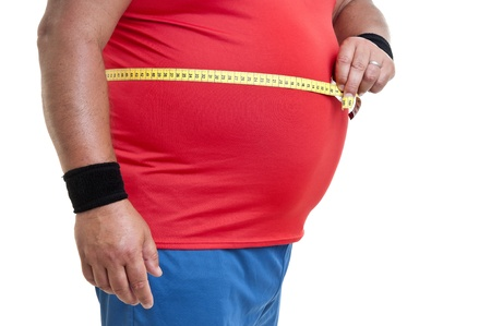 oversize: Large fitness man with measuring tape isolated in white