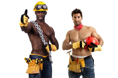 Team of strong build construction workers isolated in white photo