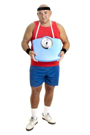 Large fitness man with weight scale isolated in white photo
