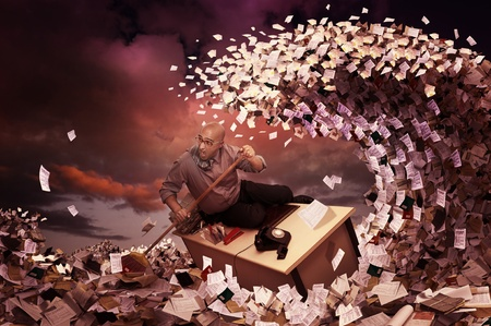 bureaucracy: Stressed businessman in a bureaucracy sea, made of papers