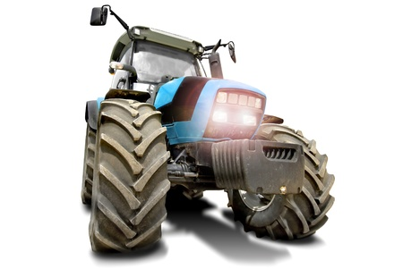 Blue tractor in a white background photo