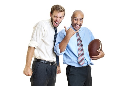 Businessman with rugby ball posing photo