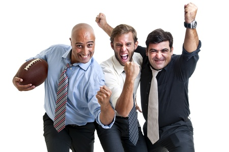 Businessmen team of rugby fans isolated in white photo