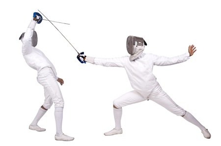 Fencing athletes isolated in white photo