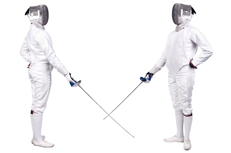 fencing: Fencing athletes isolated in white Stock Photo