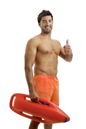 life saver: Muscular lifeguard isolated in white Stock Photo