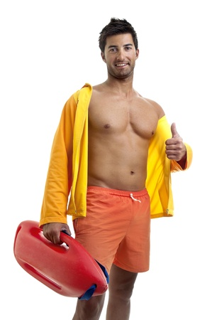 Muscular lifeguard isolated in white Stock Photo - 12962367