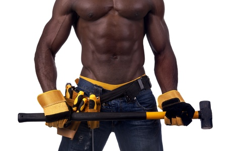 Body part of a strong build black construction worker with big hammer isolated in white Stock Photo