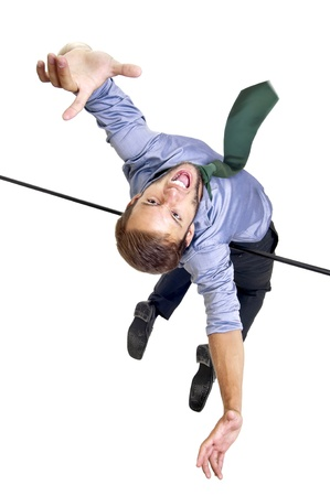 Businessman jumping over an sports competition high-jump bar Stock Photo - 13108623