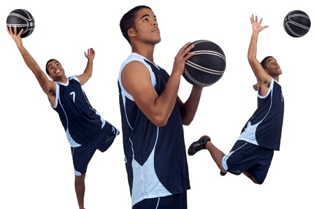 Basketball player isolated in white photo