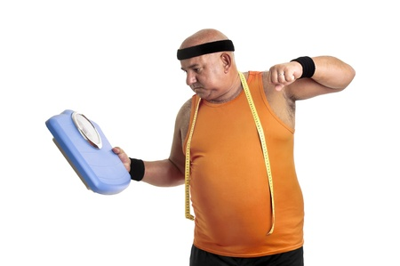 Large fitness man angry with weight scale isolated in white photo
