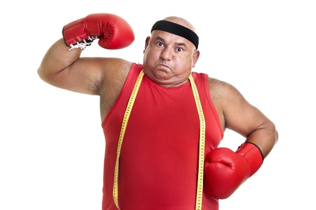 Large man with boxing gloves isolated in white