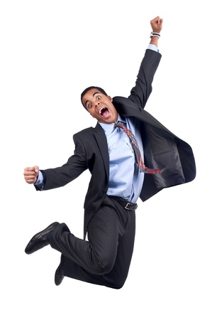Happy businessman jumping isolated in white photo