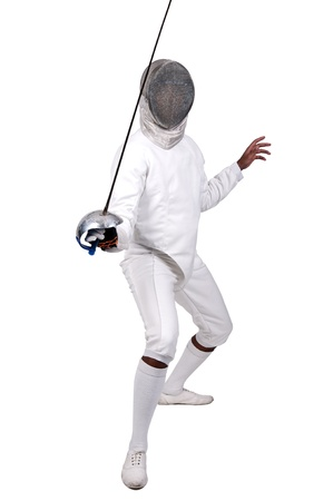 fencing: Male fencer isolated in white
