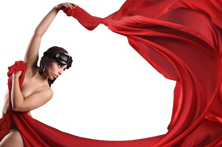 Sexy ballerina with red scarf, helmet and goggles photo