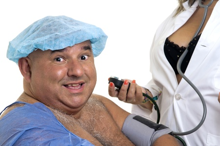 Large happy male patient with sexy doctor photo