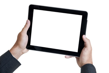 Hands holding a tablet or a Pad photo