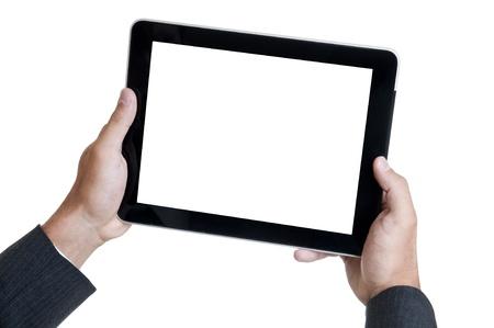 Hands holding a tablet or a Pad Banco de Imagens