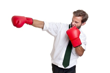 Businessman with boxing gloves isolated in white Stock Photo - 13889141